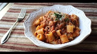 Bolognese Sauce - Marcella Hazan-Inspired Meat Sauce Recipe - Rigatoni Bolognese