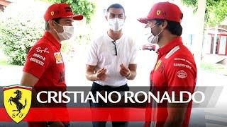 Cristiano Ronaldo meets Charles Leclerc and Carlos Sainz at Fiorano