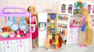 Fantastic doll Kitchen Full Set - Kitchen Island / Fridge with Light on & Making ice Küche Geladeira