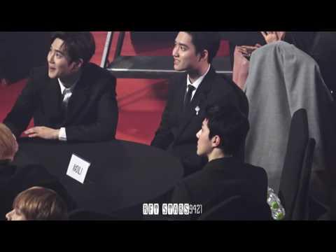 170222 가온 EXO 엑소 가수석 - 경수 몰이 하는 멤버들과 세훈 SEHUN feat.채서진씨 시상 방송분 깨알컷 @ GAON chart