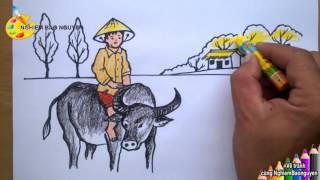 Vẽ chú bé chăn trâu/How to draw Baby buffalo herd