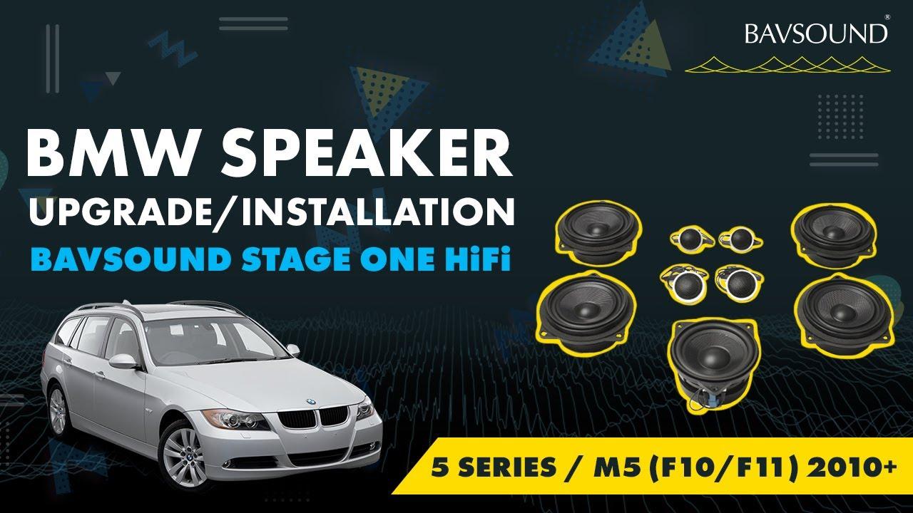 bavsound bmw 5 series m5 f10 f11 2010 stage i hifi speaker upgrade install youtube. Black Bedroom Furniture Sets. Home Design Ideas