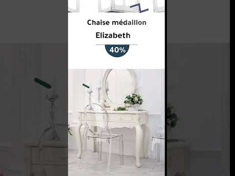video Lot de 4 chaises ELIZABETH Blanc Transparent