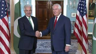 Secretary Tillerson camera spray with Pakistani Foreign Minister Asif