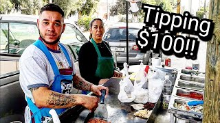 ULTIMATE Mexican Street Food - Tipping $100 Dollars in Mexico - BEST Street Tacos EVER!!!
