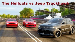 Forza Horizon 4 Drag race: Jeep Trackhawk vs The Hellcats (Challenger & Charger)