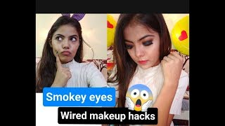 Smokey Eyes for Biggners    Weird Makeup Hacks    Style with me  
