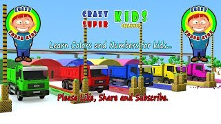 Learn Colors and Numbers For Kids with Trucks and balls animation from Crazy Super kids