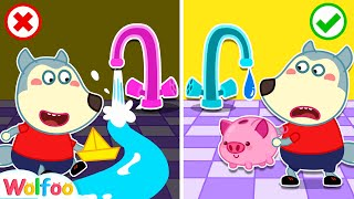 Wolfoo, Don't Waste Water - Yes Yes Save the Earth - Learn Good Habits for Kids   Wolfoo Channel