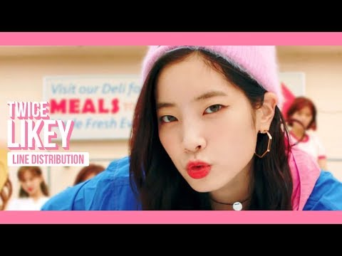 TWICE - LIKEY Line Distribution (Color Coded) | 트와이스 - 라이키