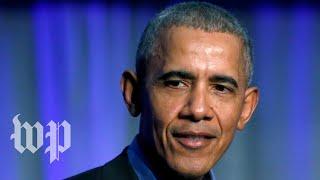 Former president Obama speaks at the University of Illinois