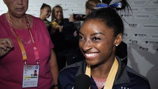 Simone Biles (USA) Interview 2019 Worlds Stuttgart - Team Final