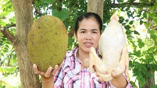 Awesome Cooking Roasted Jack Fruit With Chicken Recipe -  Eating  Chicken Delicious -  Cooking Skill
