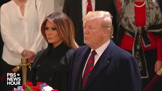 President Donald Trump, first lady Melania Trump pay respects to George H.W. Bush
