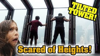 REAL LIFE TILTED TOWER!!! Scared of Heights!  Pizza Pizza Pizza! 360 Chicago Sightseeing!
