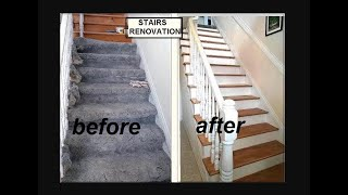 DIY STAIRS RENOVATION,  One woman, one staircase, with Spindles, Remove CARPET,