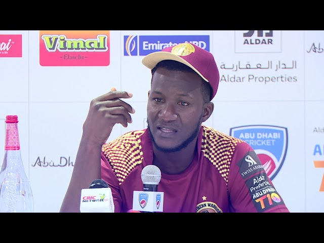 Captain of the Warriors, Darren Sammy, speaks after losing to the Qalandars