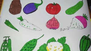 How to draw vegetables | play learn paint