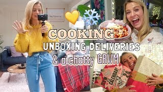 CHATTY GRWM, COOK VEGGIE CHLLI WITH ME & UNBOXING DELIVERIES! *christmassy*