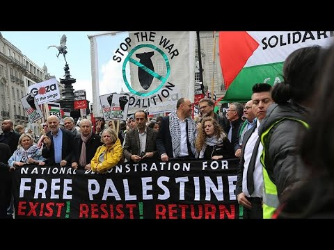 Demonstrators march in support of Palestine in London
