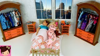 Barbie & Ken Morning Routine Bedroom, Bathroom Doll House Pool  - Playing with Toy Videos for Kids