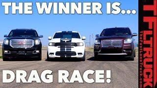 All American Big Ass Truck Drag Race! GMC vs Ford vs Dodge