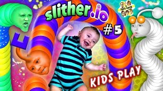 SLITHER.io #5: BABY SNAKE PUNCHER! FGTEEV Kids Play w/ Worms! ♫ (Chase, Lex, Mike & Shawn) ♫