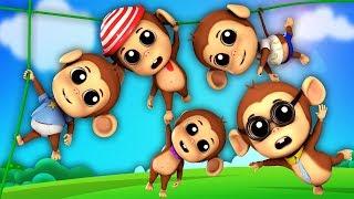 cinco pequenos macacos | macaco rima | canção dos miúdos | Five Little Monkeys | Farmees Português