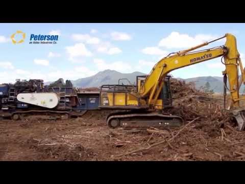 Peterson 4710B Horizontal Grinder Processing Biomass in Chile