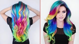 Rainbow Hair Color Transformations | Creating colorful hair