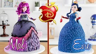 DESCENDANTS 2 🍎 Evie & Mal Doll Cakes 💙 Tan Dulce