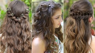 3 Easy Boho PROM Hairstyles   Half Up Hairstyles Compilation 2019