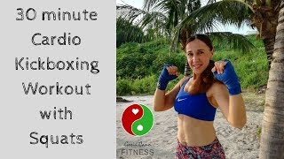 30 minute Cardio Kickboxing Workout with Squats