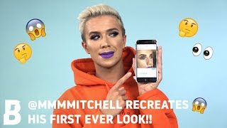@MMMMITCHELL RECREATES HIS FIRST EVER LOOK!! 😮 WHERE ARE THE LASHES?! 🤔🤷‍♀️ | BEAUTY BAY