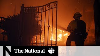 Firefighters battle fast-moving wildfire near Los Angeles
