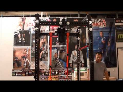 Sorinex Squat Rack featuring suspension vibration attachment.