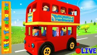 Wheels On The Vehicles   Bus Cartoons for Kids by Little Treehouse - Live Stream