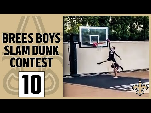 Drew Brees' Boys With a Ridiculous Slam Dunk Contest | New Orleans Saints