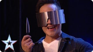 DANGER ALERT: Blindfolded magician THROWS A KNIFE at Dec! | Auditions | BGT 2018