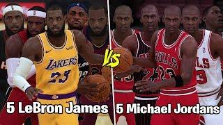 5 Different Michael Jordans vs 5 Different LeBron James!   NBA 2K19