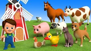 Learn Farm Animals Names & Sounds For Kids - Finger Family Song