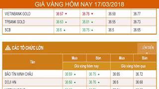 GIÁ VÀNG HÔM NAY NGÀY 17/03/2018 - Vàng SJC  - PNJ - DOJI - Vàng GOLD - vàng thế giới -vàng 9999