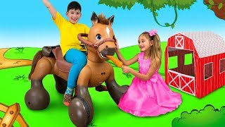 Sasha Play with Ride On Horse Toy and Goes to the Camping