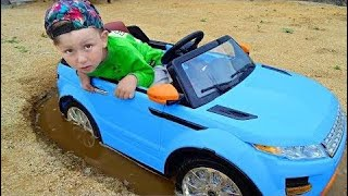 Funny Baby accident Car Stuck in the mud Ride on POWER WHEEL Tractor Buldozer! | Cool boys