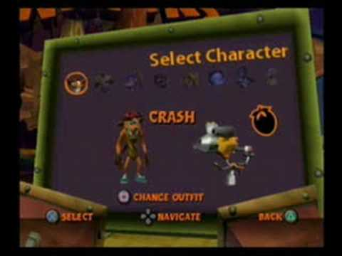 Crash Tag Team Racing - All Characters + OutFits - YouTube