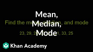 Example: Finding mean, median and mode