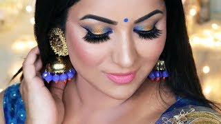 Indian Wedding Guest | Party Makeup Tutorial (Blue and Gold) | How to choose the right colors