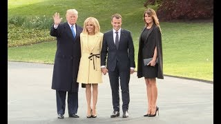 U.S. President Donald Trump welcomes France's Emmanuel Macron at the White House