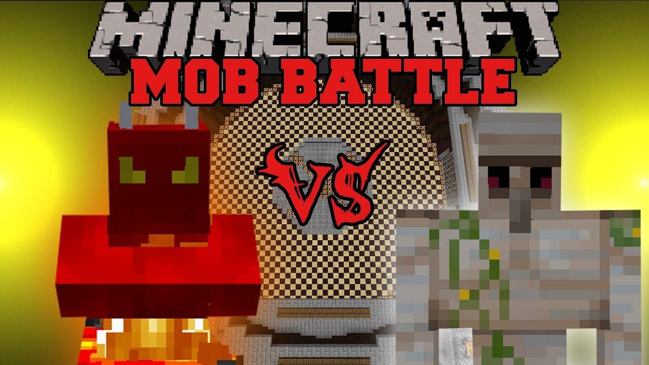Iron Golem Vs Fire Demon Minecraft Mob Battles