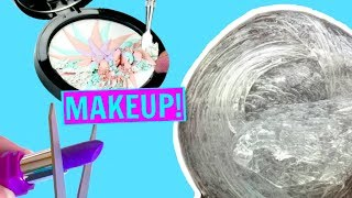MIXING MAKEUP INTO CLEAR SLIME!! Satisfying Makeup Slime Mixing!